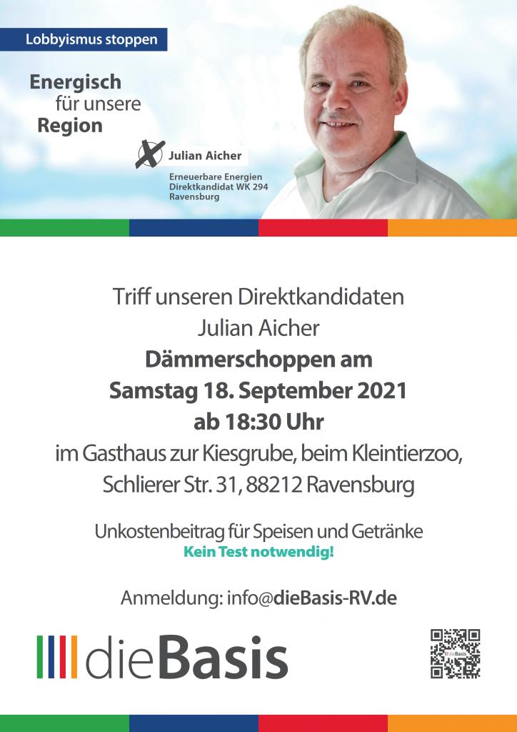 Samstag 18. September 2021 um 18:30 Uhr Dämmerschoppen mit unserem Direktkandidaten Julian Aicher
