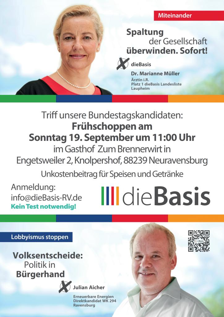 Sonntag 19. September 2021 um 11:00 Uhr Frühschoppen mit unseren Bundestagskandidaten